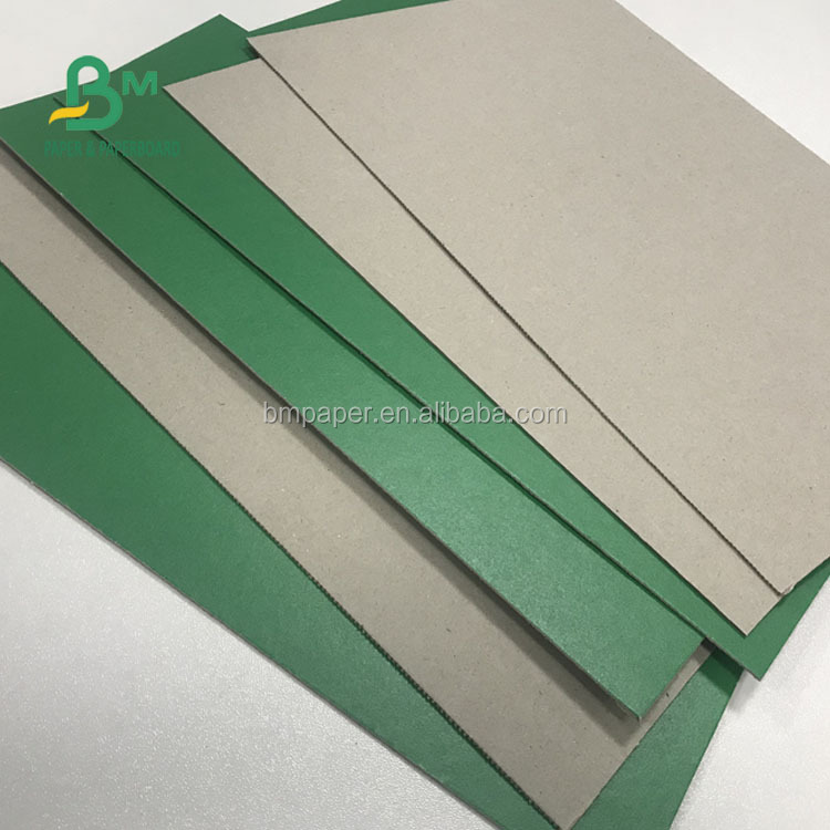 Recycled Pulp 1mm 1.5mm Green Color Coated Grey Cardboard Sheet