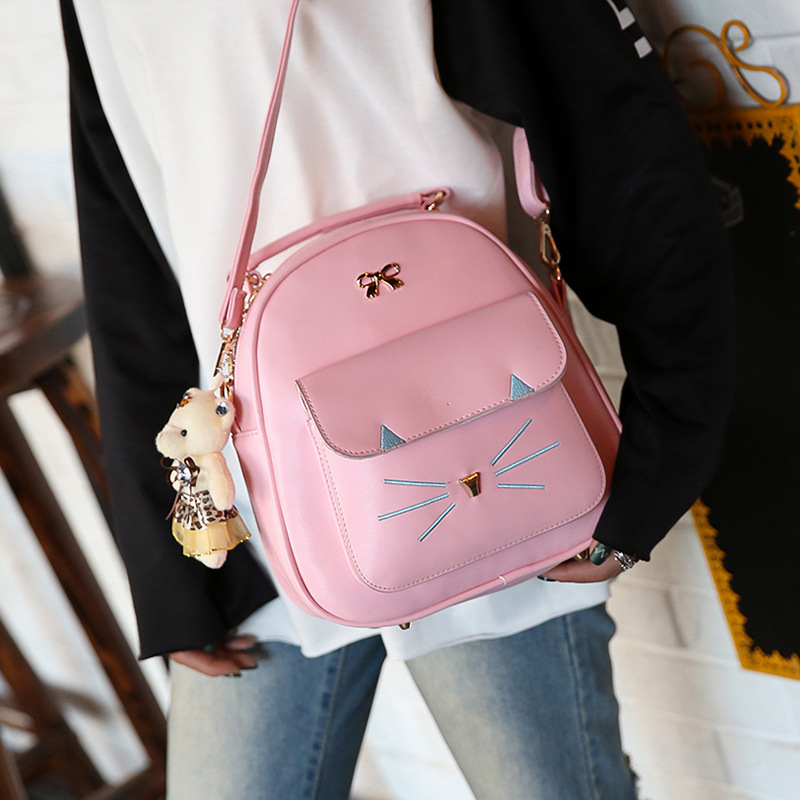 Cute Embroidery Cat Women PU Leather School Sweet Backpack