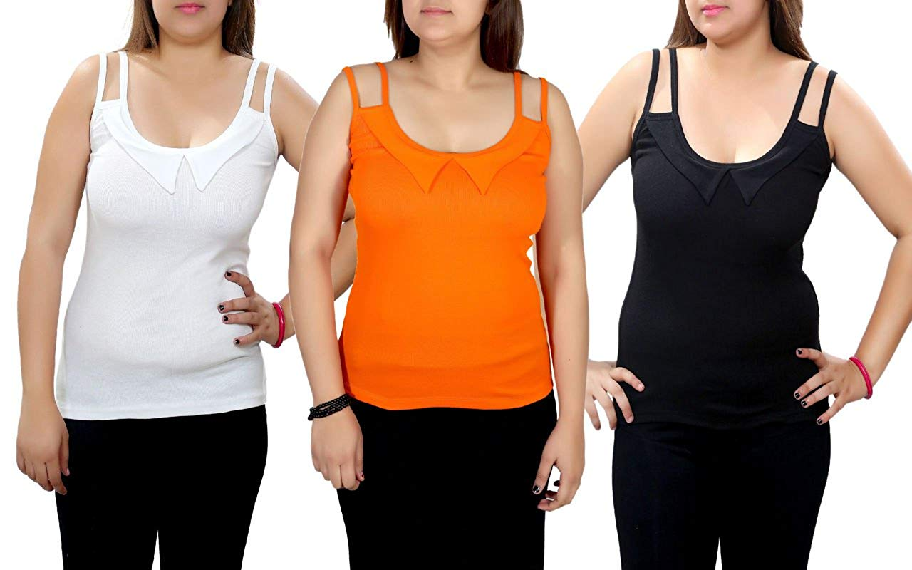 Q-rious Women's Collar Camisoles (Pack Of 3)