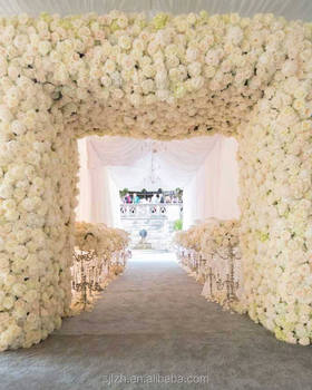 White artificial flower wall in artificial flower silk rose blossom gate