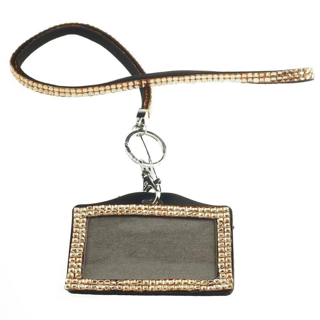 Card ID Badge Holder - TOOGOO(R) Horizontal Resin Rhinestone Work Card ID Case Holder Lanyard Sling (Champagne)