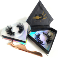 Empty eyelash packaging with custom logo luxury holographic paper false eyelash packaging box