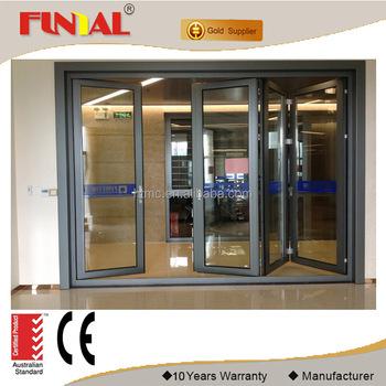 Double Tempered Glass Folding Door Aluminum Folding Door Interior Temporary  Folding Door Factory Price