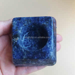 natural blue sodalite crystal stone candle holder for wholesale