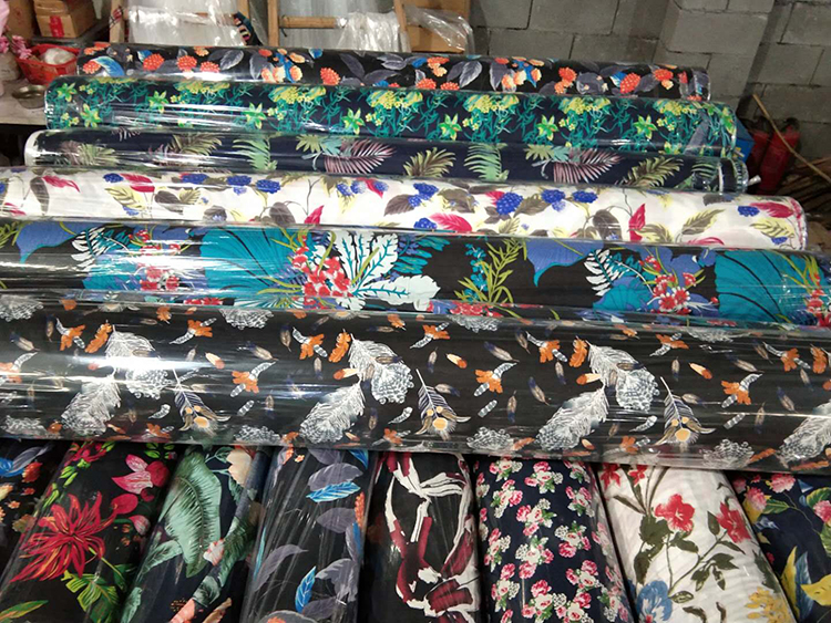 wholesale cheap 100% printed viscose spun rayon fabric in keqiao