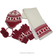 Winter 100%acrylic colorful jacquard knitting scarf,hat&glove sets