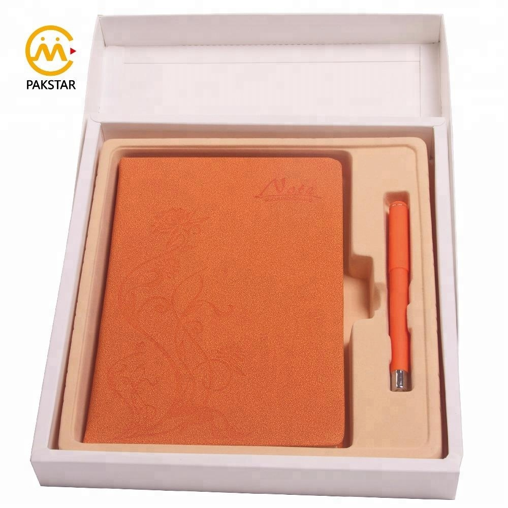 High quality custom Kraft box leather business planner notebook and pen set