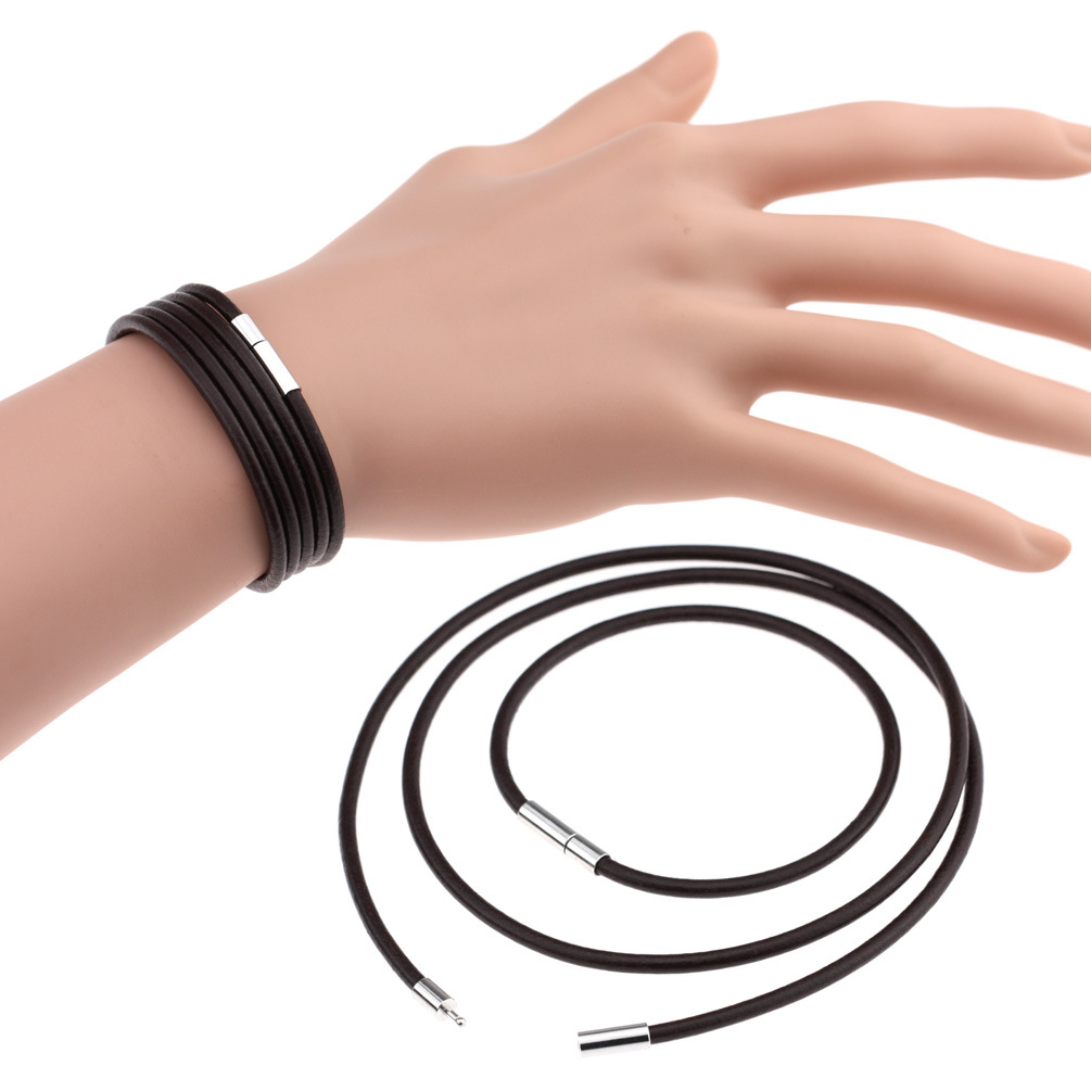 Simple Fashion  Thin Cheap Stainless steel Clasp 3mm Men Unisex Women Fashion New 2019 Plain Black Genuine Leather Bracelet