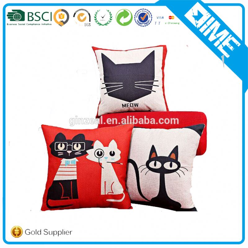 Cute Cats Decorate Cotton Cushions Cover Throw Pillow Case