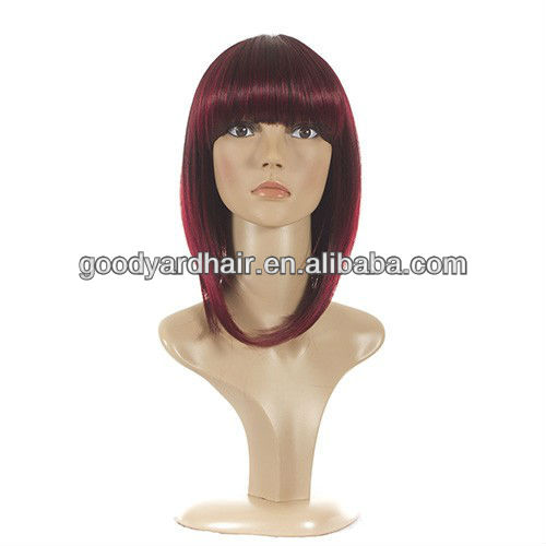 2014 New Style Fashion India hair Human Hair short bob lace front wig with baby hair price