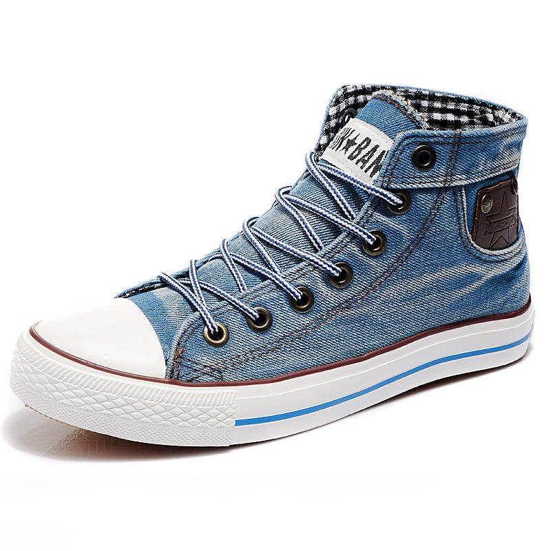 6182c2d91c65ef 2015 Men Designer High Top Sneakers Mens Casual Breathable Denim Canvas  Shoes Man Summer Jeans High