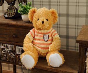 professional manufacture 48cm soft stuffed plush shy teddy bear/bolster doll with jacquard woollen sweater&music(brown)