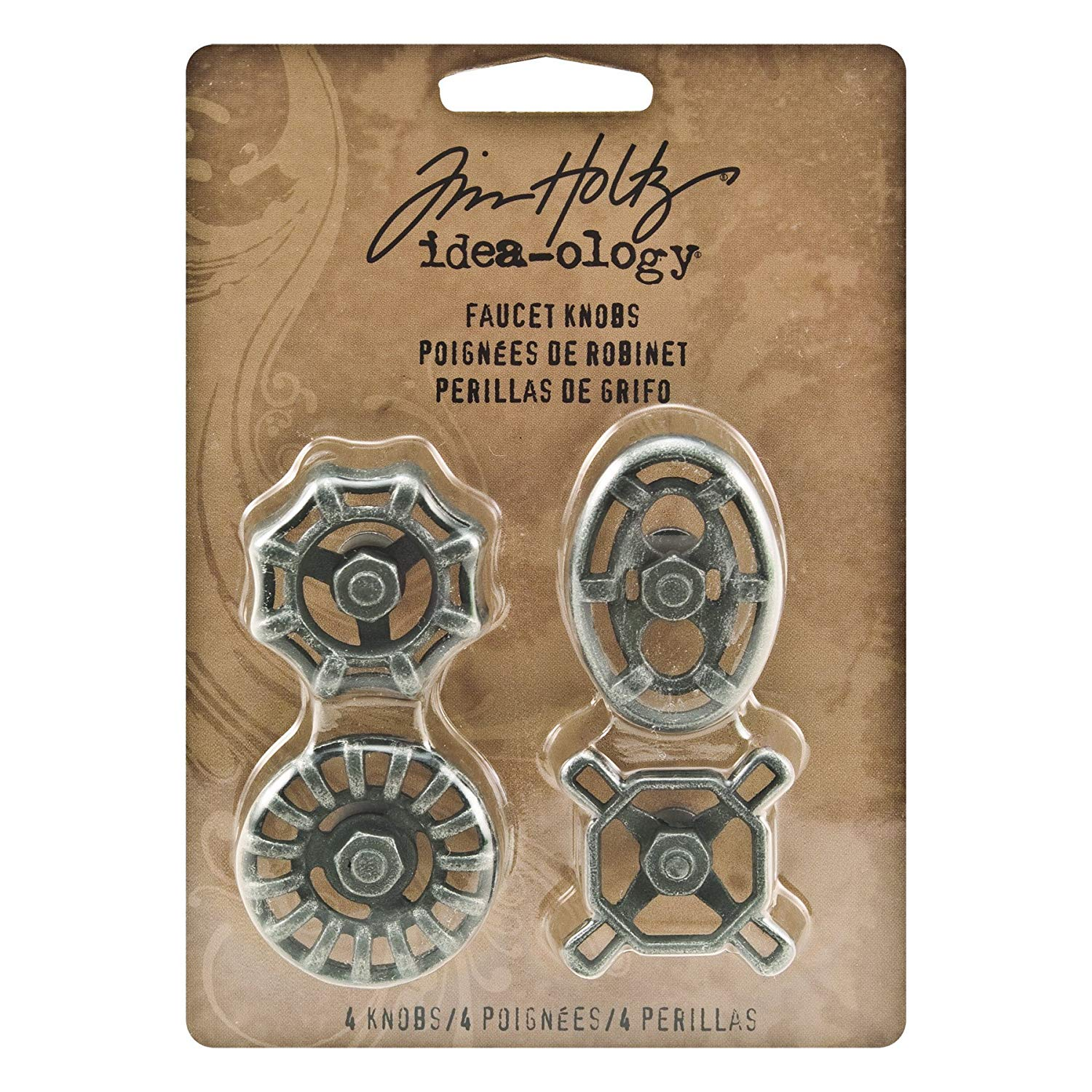 Metal Faucet Knobs by Tim Holtz Idea-ology, 4 per Pack, Various Sizes, Silver Oxide Finish, TH93002