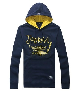 Fashion Design Hot Navy Blue Hoodies ,Embroidered /Printed /Applique Fleece Contrast Hooded Sweatshirt For Promotional