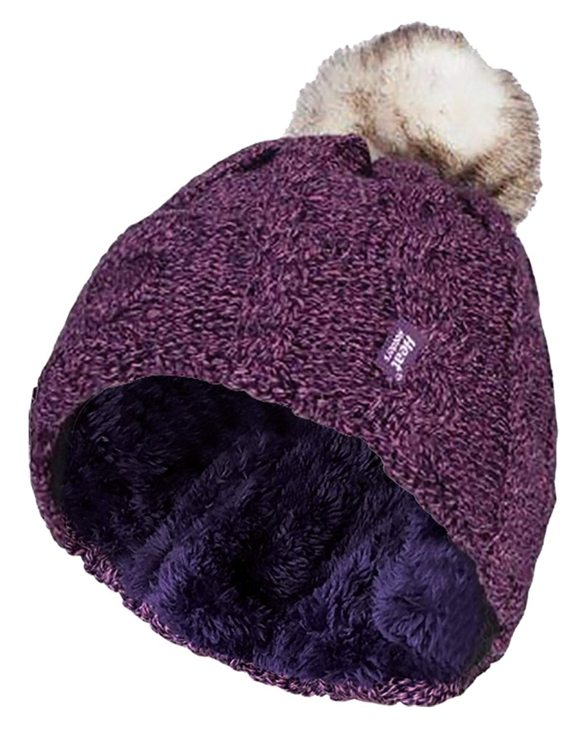 Get Quotations · Heat Holders - Womens Thick Knit Thermal Winter Warm Beanie  Hat with Pom Pom 7d7df66d32c4