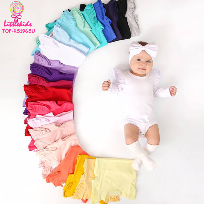 Three Layers Ruffle Flutter Long Sleeve Onesie Newbron Girls Soft Cotton Rompers Baby Kids Fashion Boutique Bodysuit Wholesale