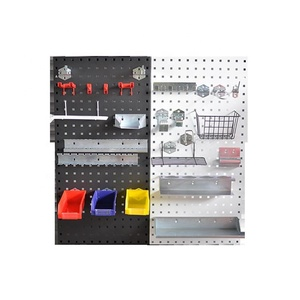 Metal Pegboard Garage Tool Board Storage Organizer Holder Black Tool Pegboard with Hooks hanging boards