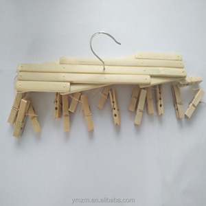 Household 16 clips bamboo clothing hanger