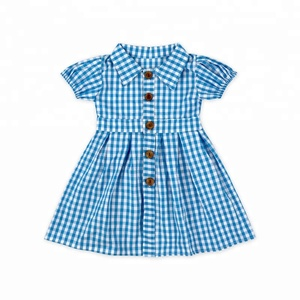 990ea2b865c0c Popular vintage checked fabric cotton baby girl plaid dresses
