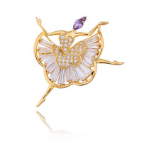 dancing girl Brooches Type and Crystal Rhinestone Jewelry Main Material brooch