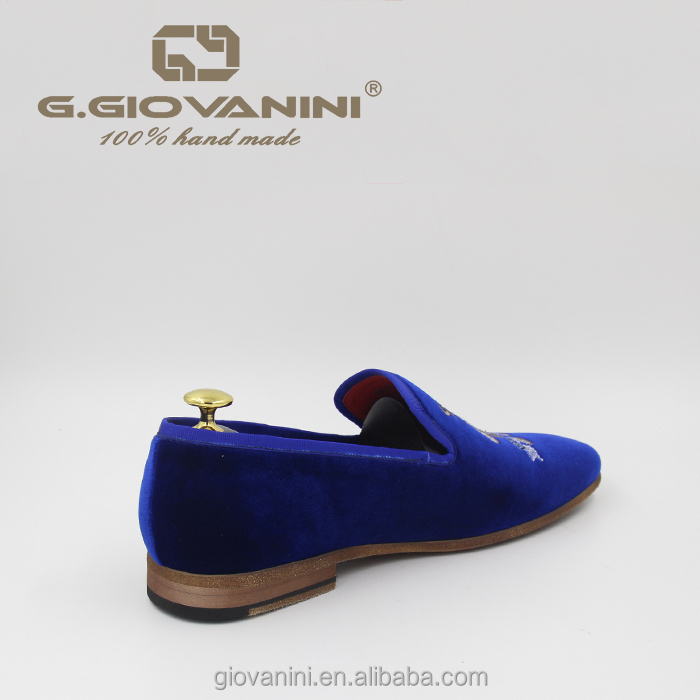 quality shoes Private loafers blue velvet silver embroidery Custom High velvet dqzFwd