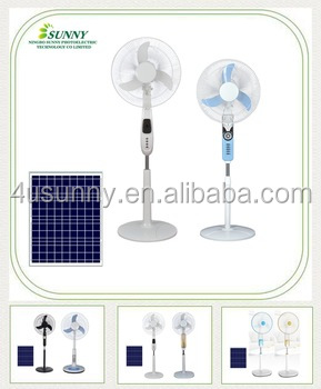 Home using 12V DC Solar Stand Fan with solar panels in 16 Inches Colors Optional OEM Welcomed