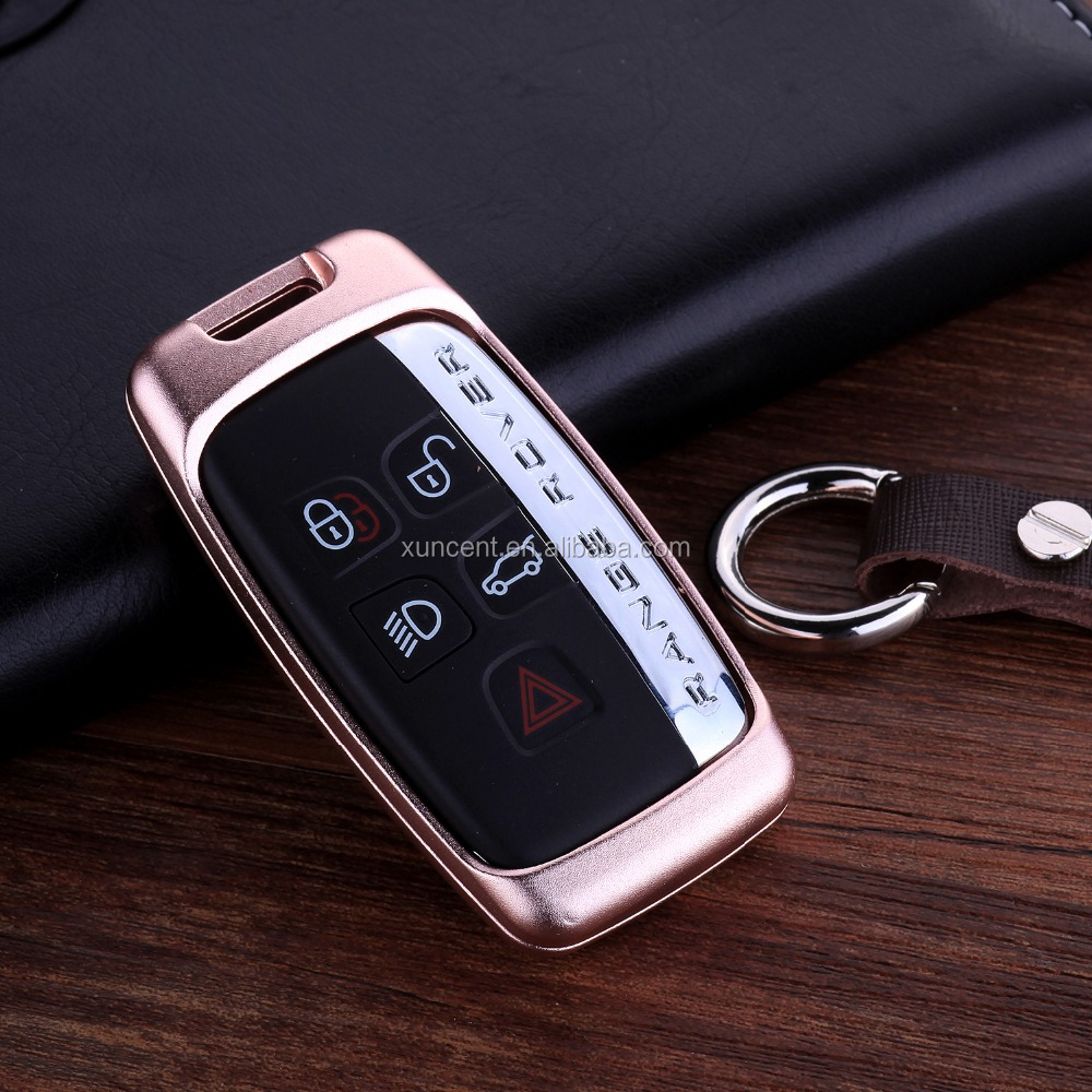 Fashion Luxury Metal Car Key Case Bumper Cover Shell With Leather Keychain for Land Rover/Jaguar All Series