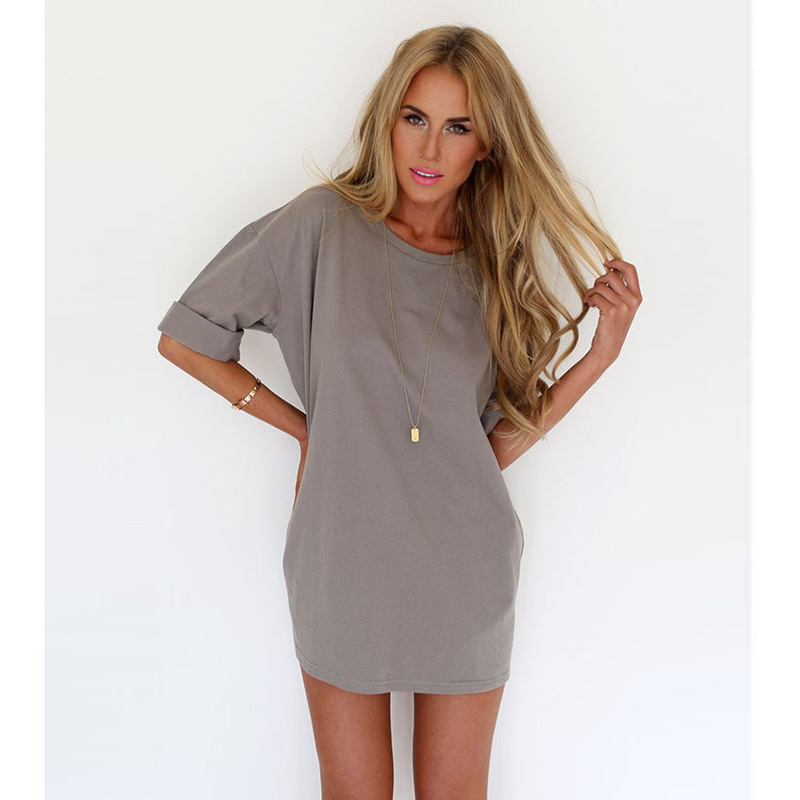 f78f26d1a98c Buy Women Gray Cotton t shirt dress Summer Mini Casual Sexy tshirt Dresses  Girls mujer Plus Size vestidos Clothing Robes femme in Cheap Price on  m.alibaba. ...