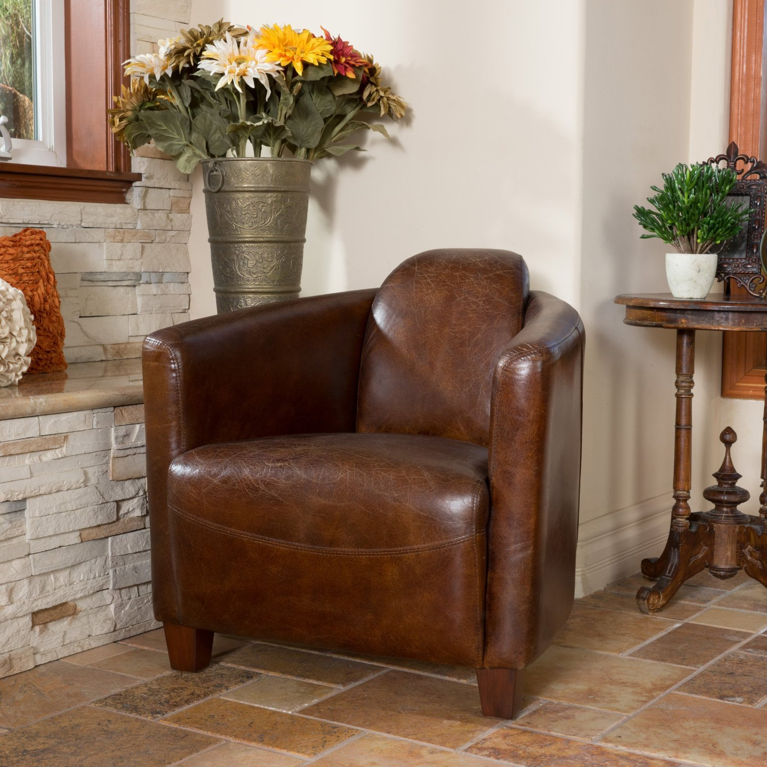 Gentil Get Quotations · Abram Brown Top Grain Leather Club Chair