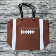 2017 new design canvas football baseball softball tote bag for mom sports tote purse stitching women cotton canvas bags
