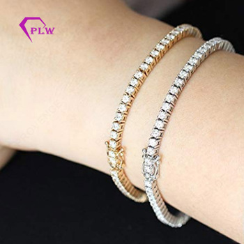 3.5mm Round Cut Moissanite Diamond Tennis Bracelet 14k White Gold or Rose Gold