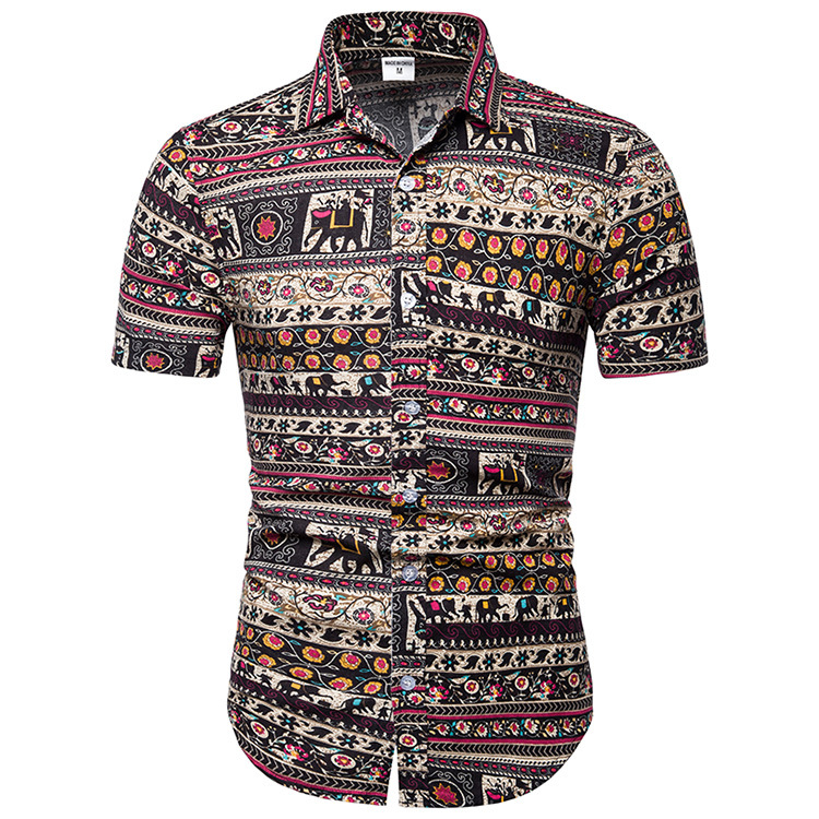 XL1088 Custom design printed short sleeve 100% cotton casual famous brand cotton shirts for men фото