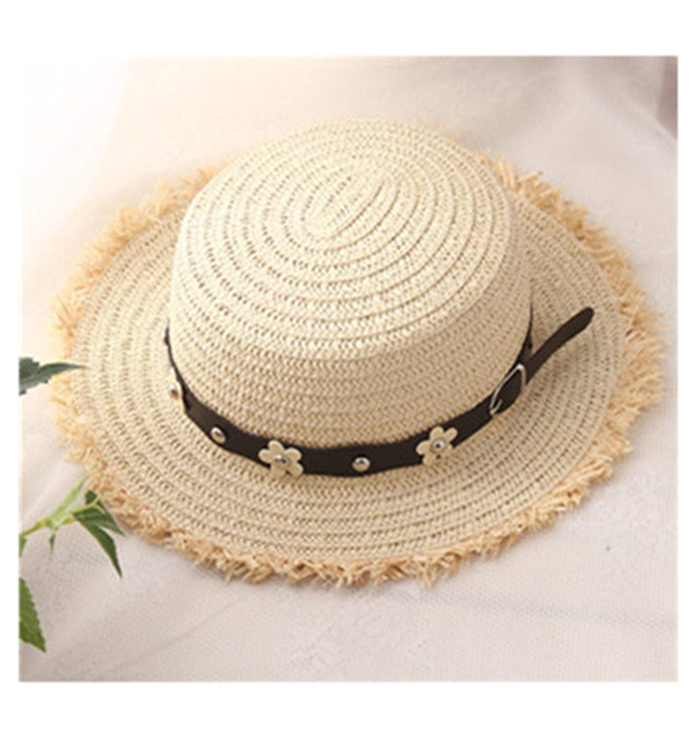 Gail Jonson Flat Top Straw Boater Hats for Summer Women Wide Brim Beach Sun Hats with Tassels Adult Straw Hats