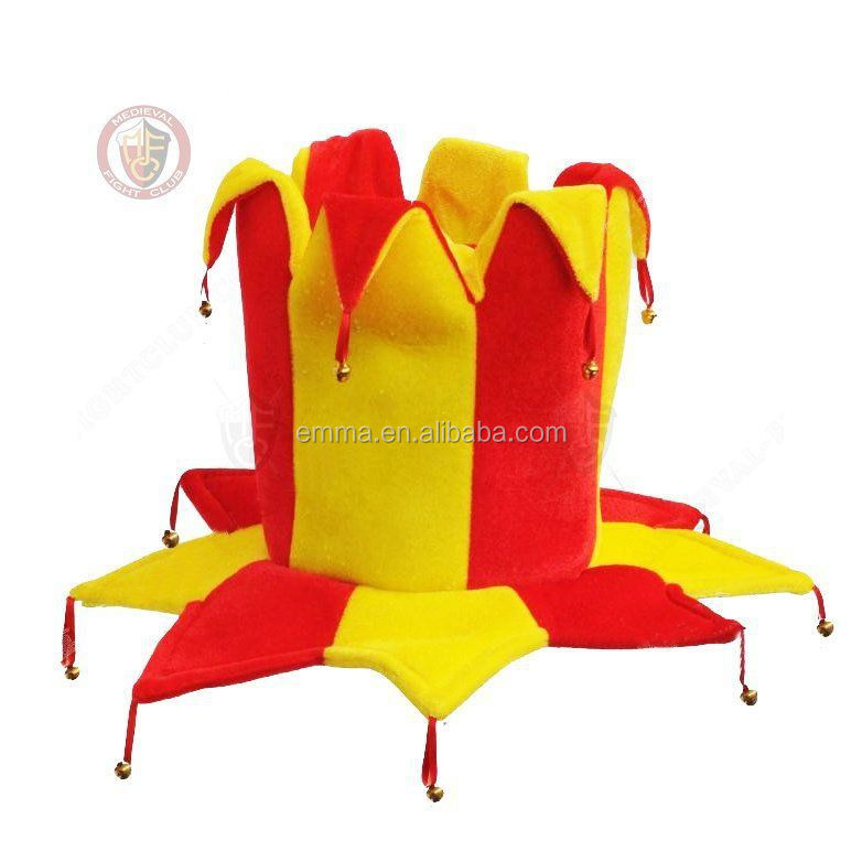 Jester Hat bells Clown red yellow carnival hat costume fancy dress party HT2506