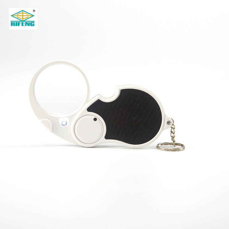 Factory sale portable folding keychain LED jewelry Loupe Magnifier