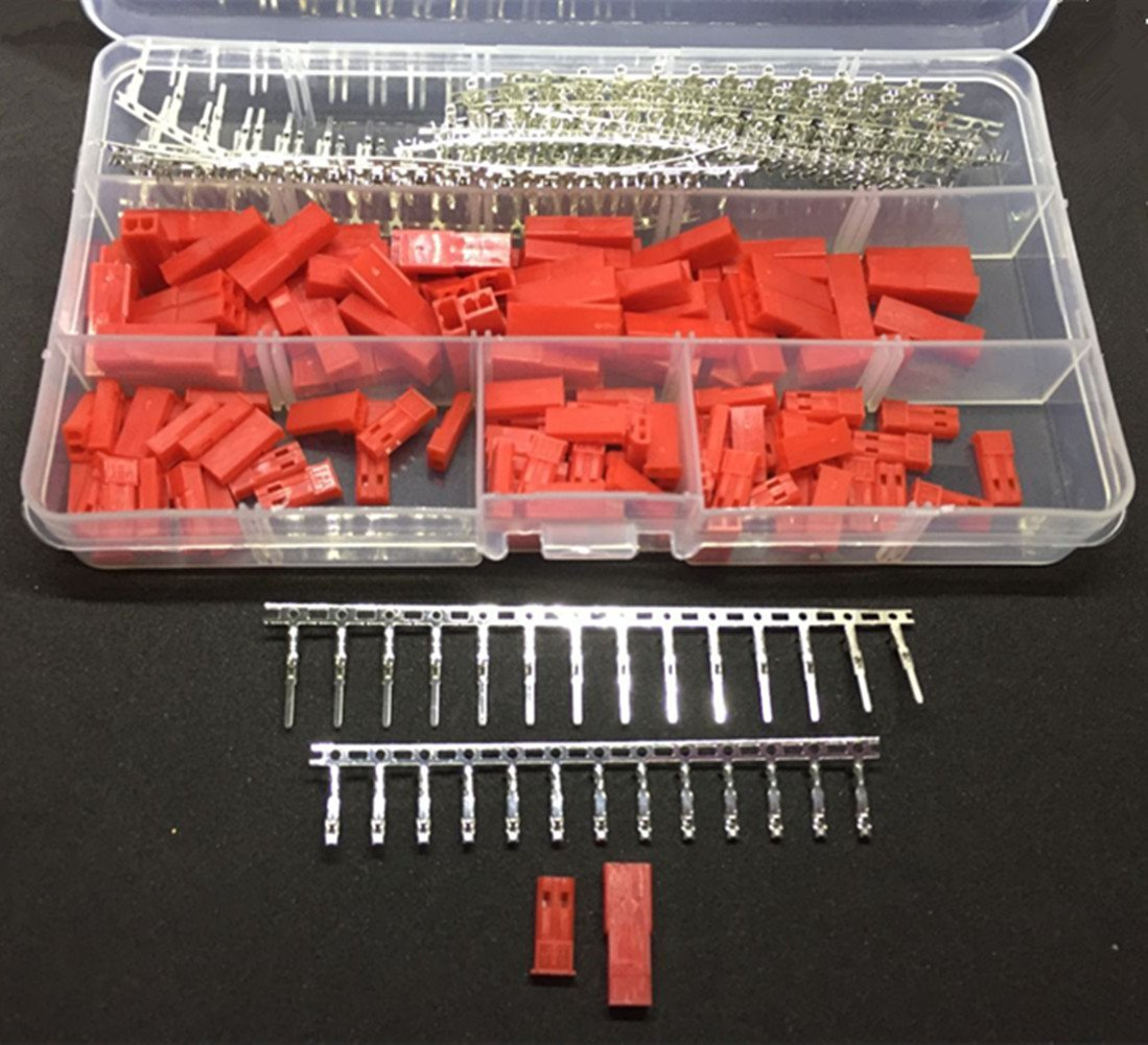 Ltvystore 420PCS (70 Sets) JST SYP 2-Pin Red Female Male Plug Housing Kit, Male Female Crimp Terminal Connector Set