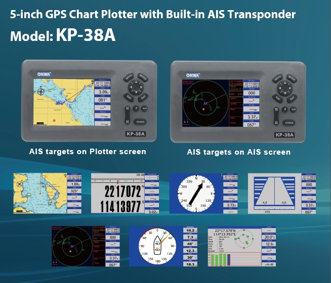 ONWA 5-inch marine GPS Chart Plotter with built-in AIS Transponder KP-38A