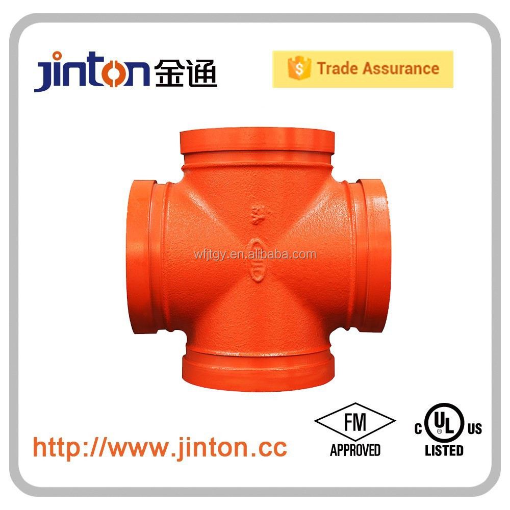 FM UL Grooved Pipe Fittings Tube Accessories Equal Cross JTPR