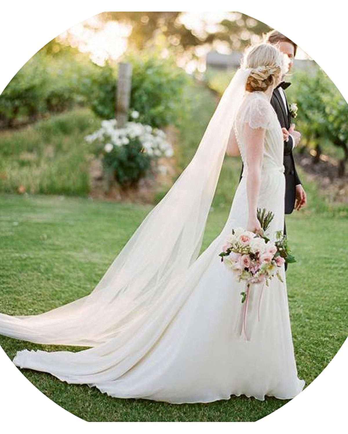Ladsen Bride's 2T Long Wedding Veils 2M/3M Tulle Bridal Veil White Ivory with Comb
