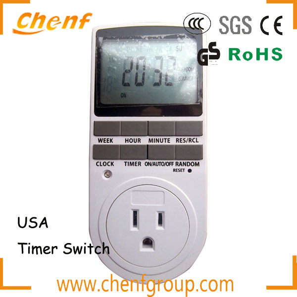 CE Approval LCD weekly digital Timer Socket With USA Plug