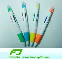 Custom plastic 4 color ink ball pen with highlighter(2color 4color 6color)