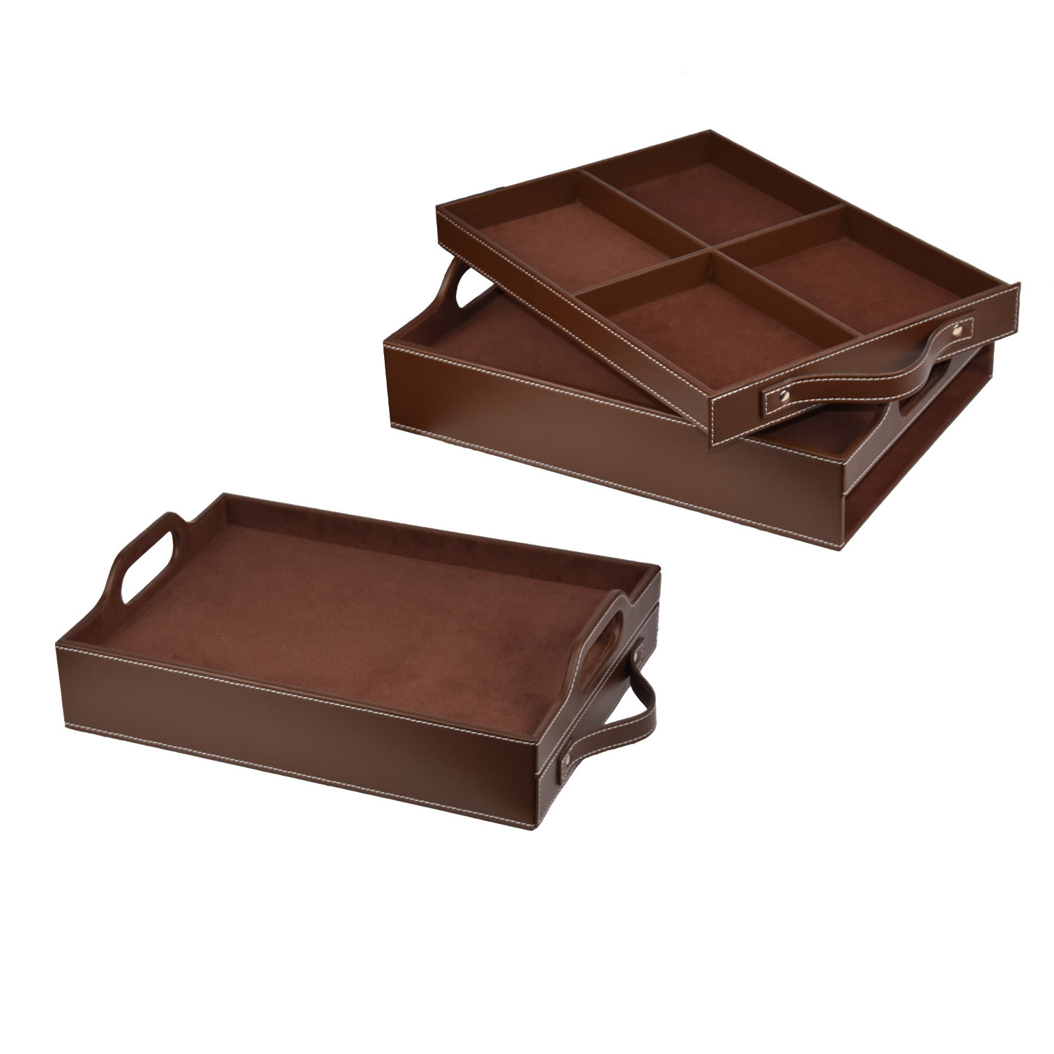 Beautiful pattern luxury PU leather tray for tea or coffee