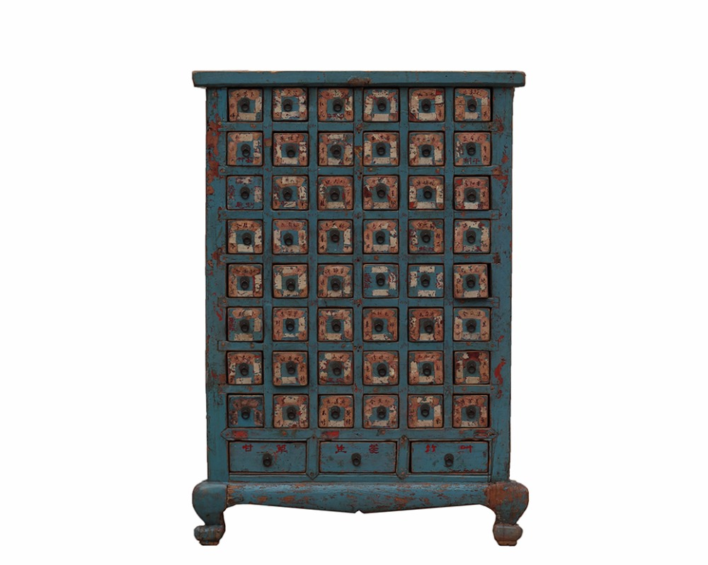 Chinese vintage blue decorated lacquered medicine cabinet