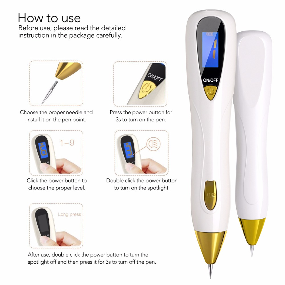 Portable mini beauty equipment laser mole spot removal pen sweep spot pen for individual use