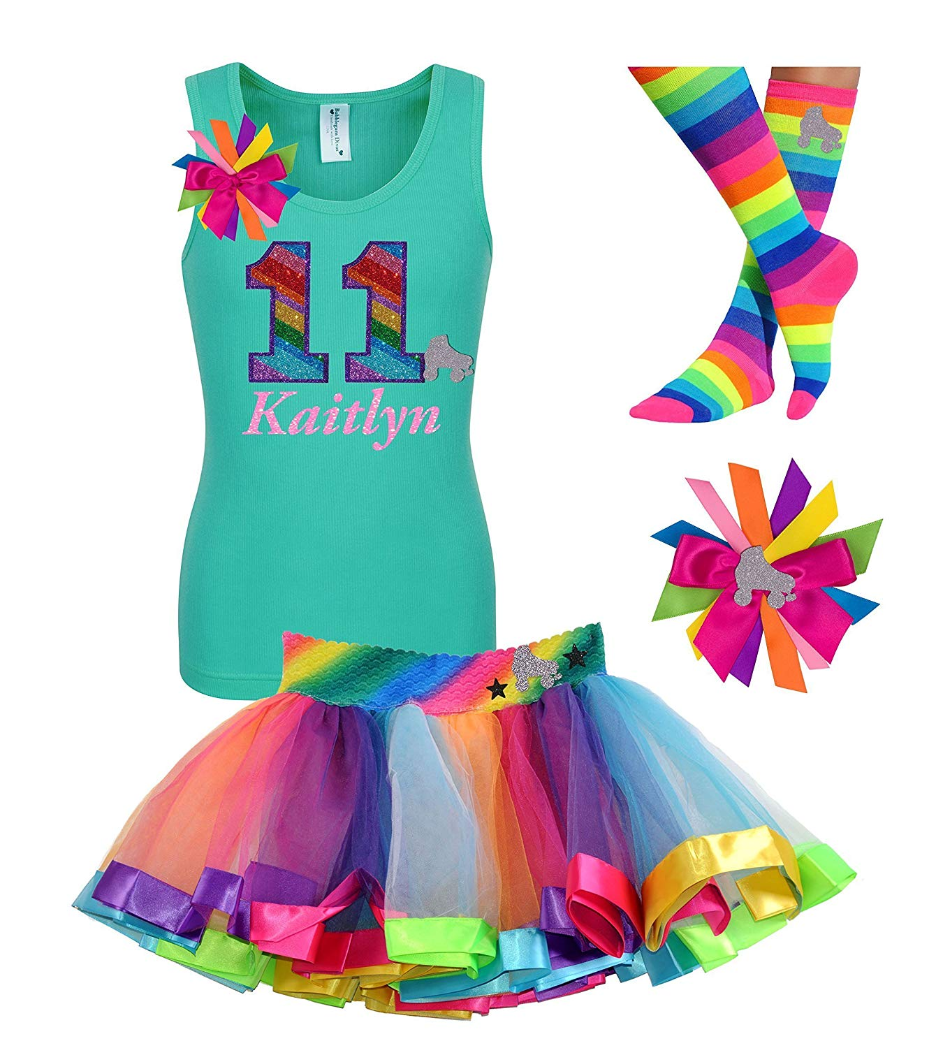 43c117c7bd54 Get Quotations · Personalized 11th Birthday Roller Skate Shirt Tutu Skirt  Rainbow Eleven Tween Girls Party Outfit 11