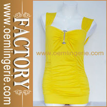 Light Yellow Sleeveless Adorn Chest Cut Out Back Tight Waist Fashion Latest Sexy Dress