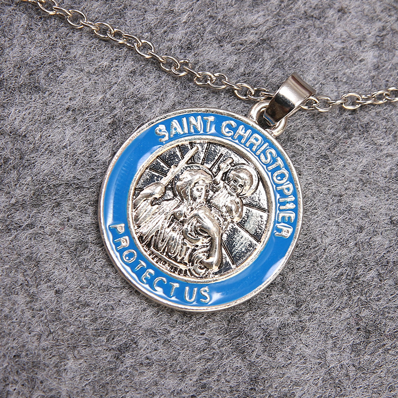 7ba36a029dc Enamel Patron Saint of Christian Travelers - Saint Christopher Round  Necklace Pendant religious alloy jewelry sweater chain gift 22*22mm