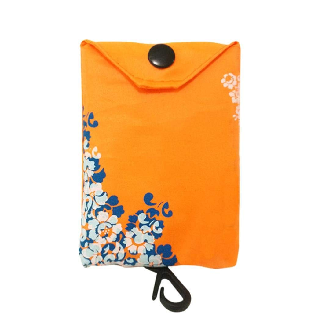 Foldable Reusable Grocery Bags, Clearance Sale! Iuhan Shopping Tote Bag Grocery Tote Foldable into Attached Pouch, Eco-Friendly Ripstop Nylon, Waterproof, Washable,Durable and Lightweight (Orange)