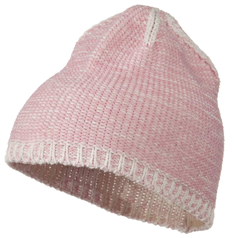 Get Quotations · Two Tone Cotton Blend Beanie - Pink White 6c24018495de