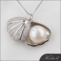 Luxury popular clam design real freshwater perle pendant with 925 silver